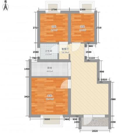 荣盛香缇澜山二期3室1厅1卫1厨68.00㎡户型图