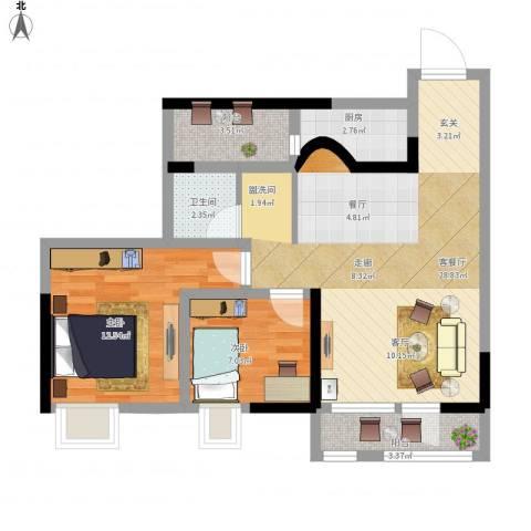 司南3空间2室1厅1卫1厨89.00㎡户型图