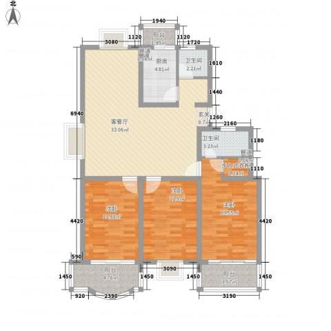 太湖花园三期3室1厅2卫1厨133.00㎡户型图