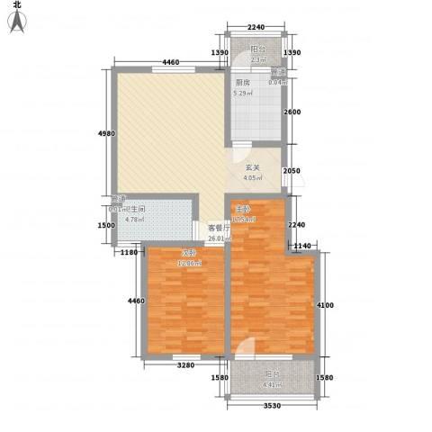 幸福泉城尚郡2室1厅1卫1厨107.00㎡户型图