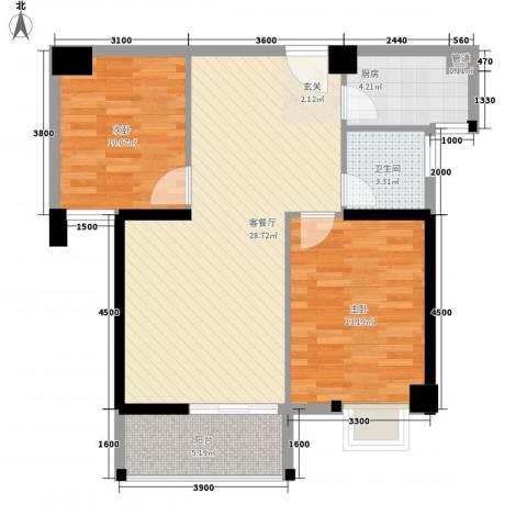 星河城市广场2室1厅1卫1厨64.80㎡户型图