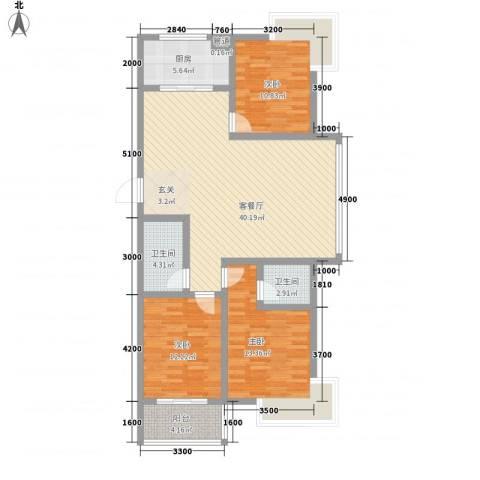 绿扬新苑3室1厅2卫1厨134.00㎡户型图