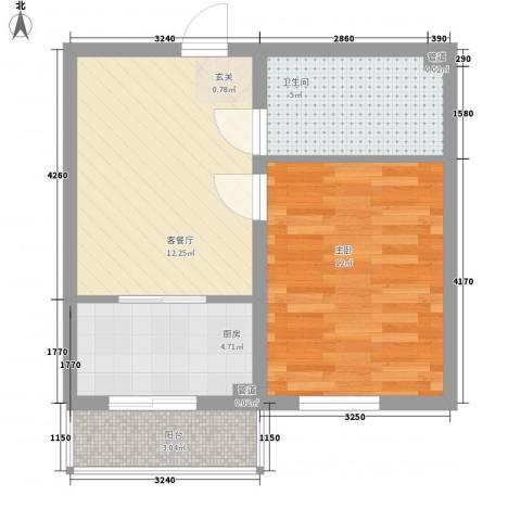 上城俪园1室1厅1卫1厨52.00㎡户型图