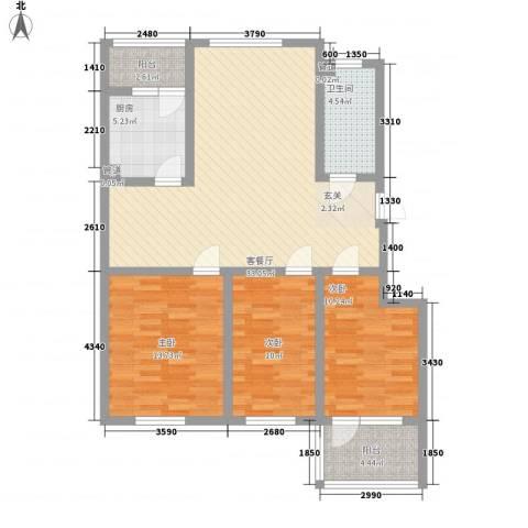 幸福泉城尚郡3室1厅1卫1厨122.00㎡户型图