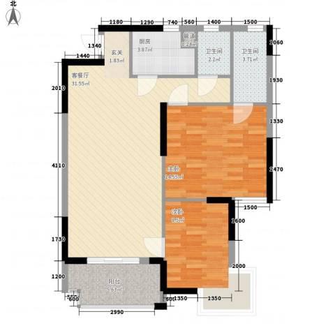 正龙豪园2室1厅2卫1厨399.00㎡户型图