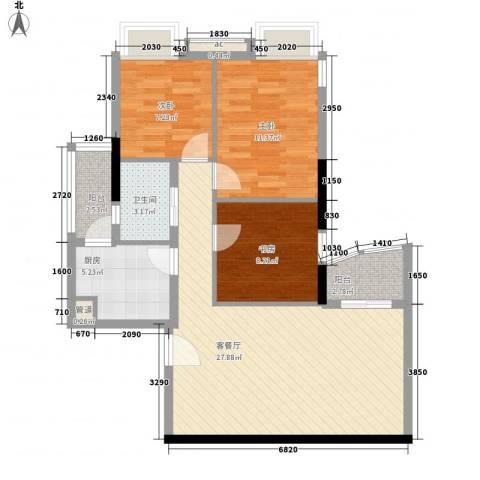 麓湖盛景3室1厅1卫1厨99.00㎡户型图