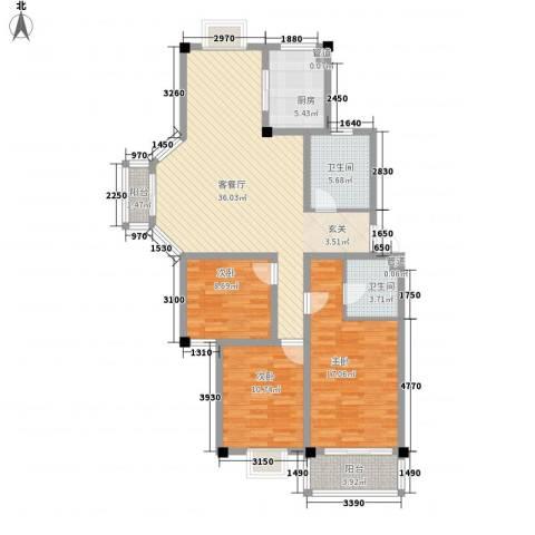 太湖花园三期3室1厅2卫1厨134.00㎡户型图