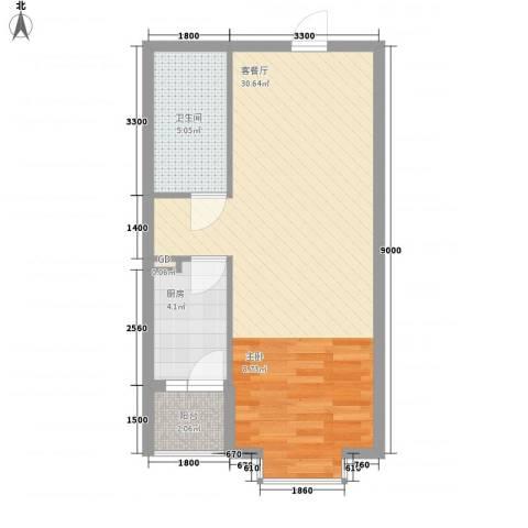 碧桂园温泉小区1厅1卫1厨56.00㎡户型图