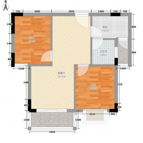 绿扬新苑2室1厅1卫1厨71.00㎡户型图