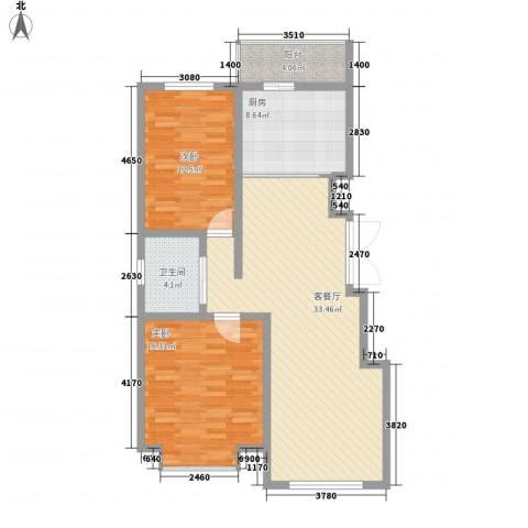 力旺康景2室1厅1卫1厨106.00㎡户型图