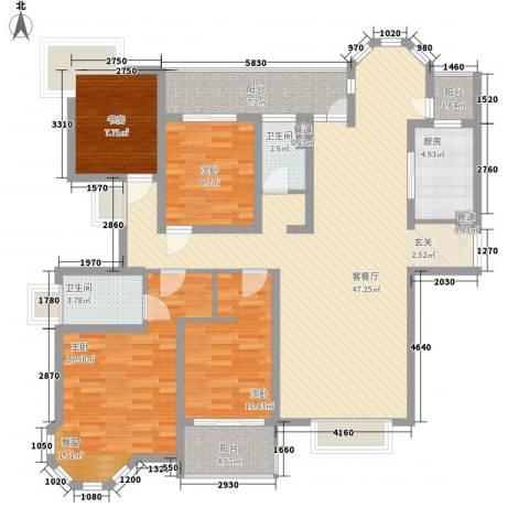 中海御湖熙岸华府4室1厅2卫1厨170.00㎡户型图