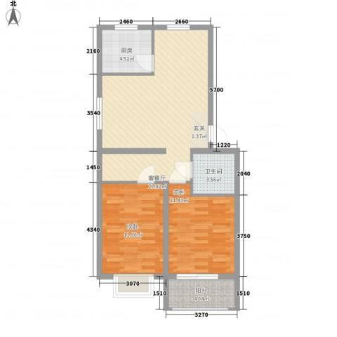 绿茵港湾2室1厅1卫1厨81.00㎡户型图