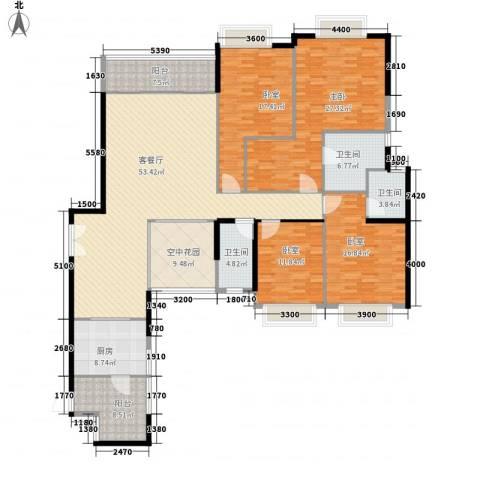 锦城南苑1室1厅3卫1厨216.00㎡户型图