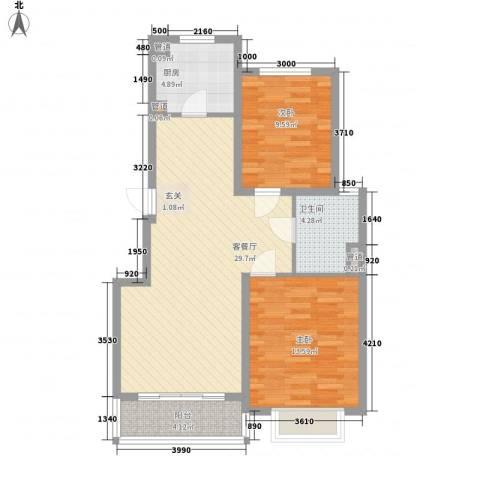 龙泽家园2室1厅1卫1厨95.00㎡户型图