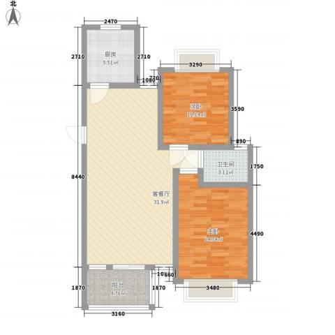 秀水小区2室1厅1卫1厨100.00㎡户型图