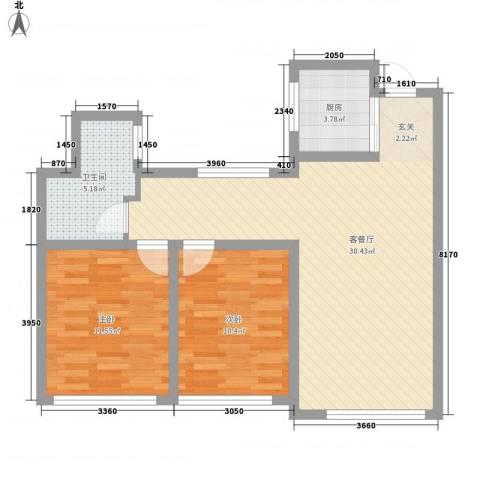宝华・天泽府2室1厅1卫1厨88.00㎡户型图