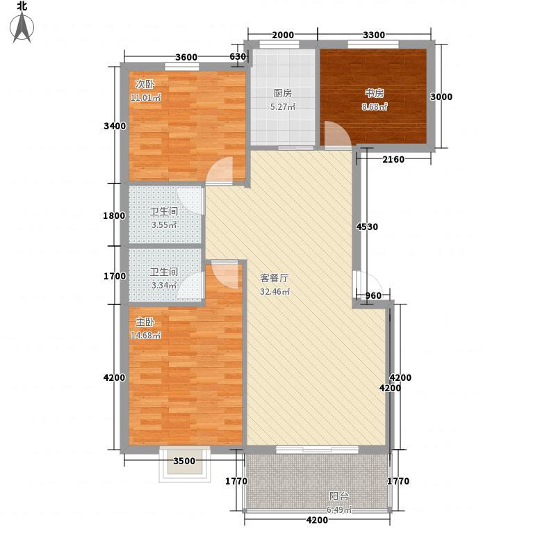 海润・黄金海岸18.71㎡5、15号楼A型户型3室2厅2卫1厨
