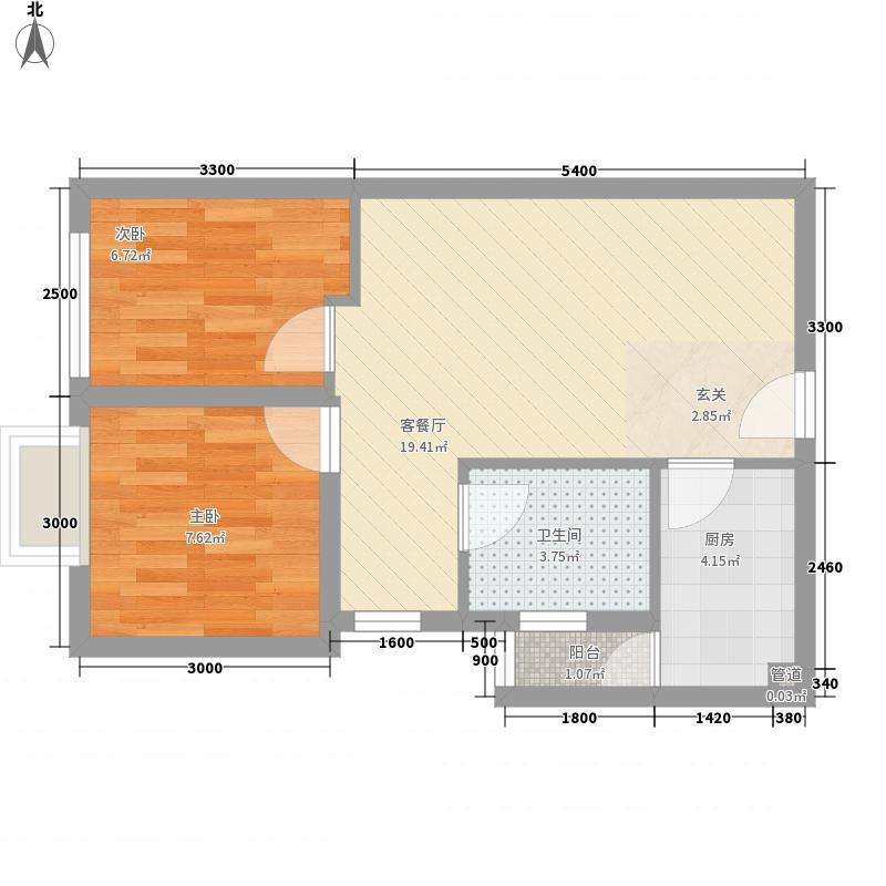 城市阳光两居室12户型2室1厅1卫1厨