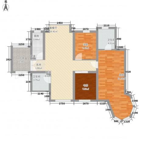 天正银河湾3室1厅2卫1厨119.00㎡户型图