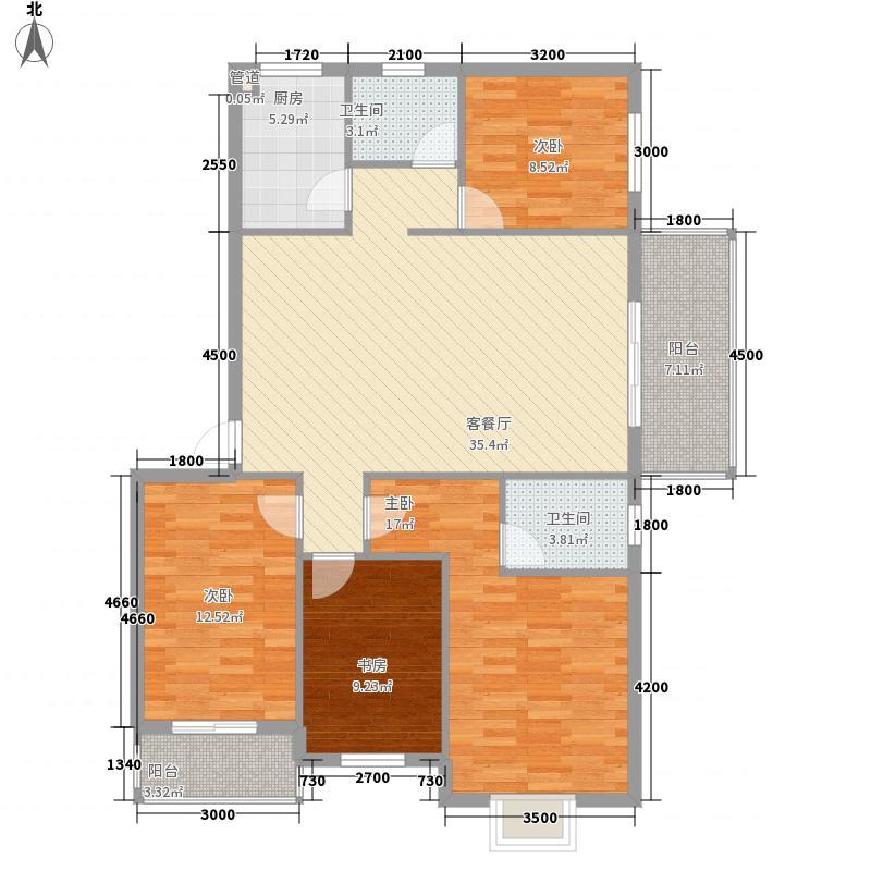 海润・黄金海岸127.80㎡5、15号楼D型户型4室2厅2卫1厨