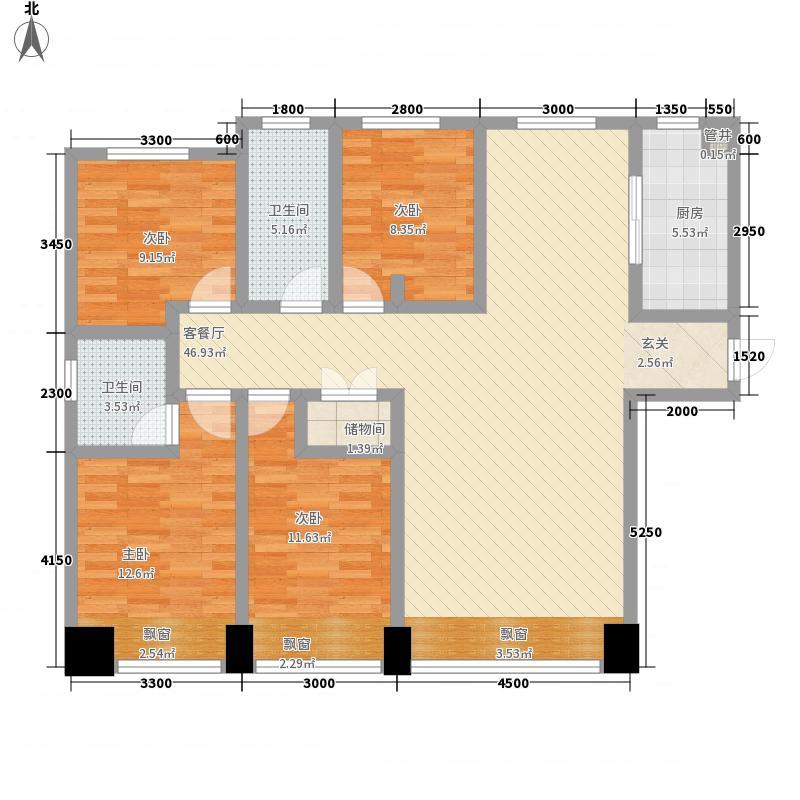 聚荣居158.74㎡一号楼1A双卫户型4室2厅2卫1厨