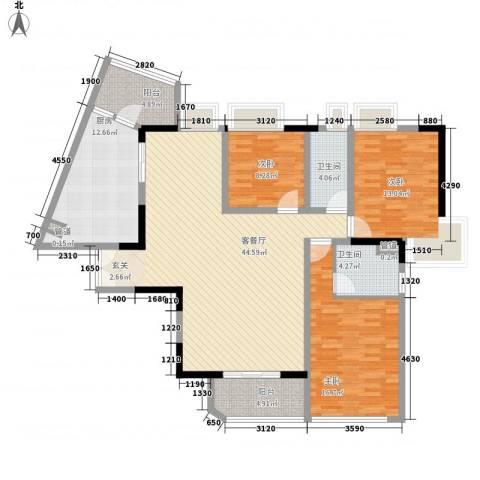 综艺曼哈顿时代3室1厅2卫1厨113.75㎡户型图