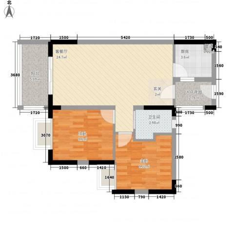 丽冠雅居2室1厅1卫1厨83.00㎡户型图