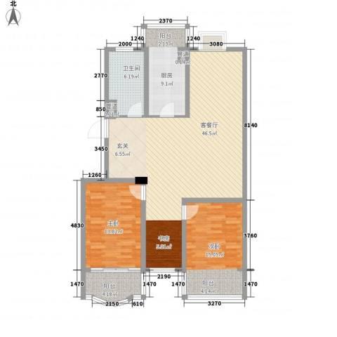 太湖花园三期2室1厅1卫1厨135.00㎡户型图