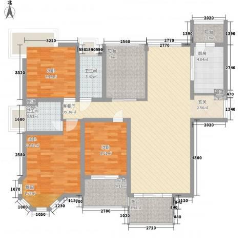中海御湖熙岸华府3室1厅2卫1厨140.00㎡户型图