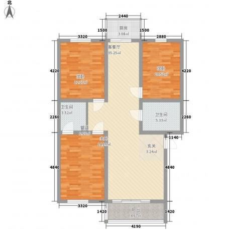 天正银河湾3室1厅2卫1厨128.00㎡户型图
