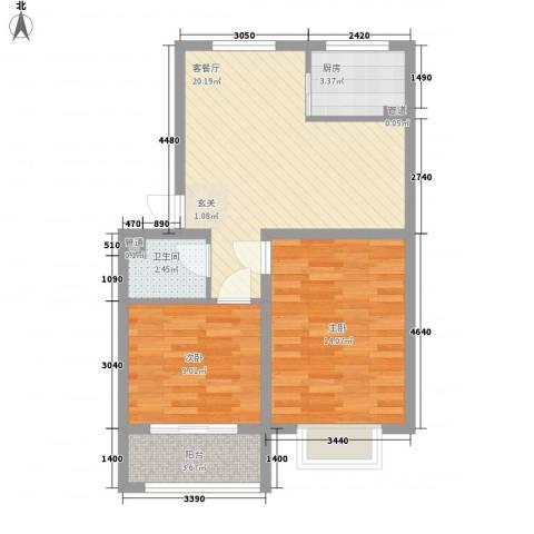 绿茵港湾2室1厅1卫1厨77.00㎡户型图
