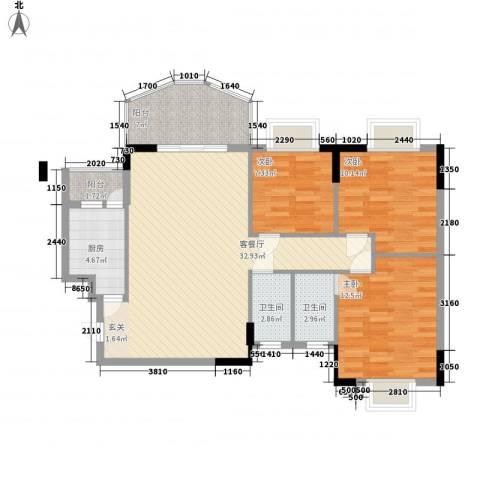 芳菲苑3室1厅2卫1厨116.00㎡户型图