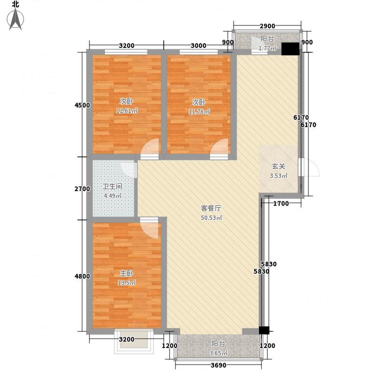 祥和佳苑户型图C1户型 3室2厅1卫1厨