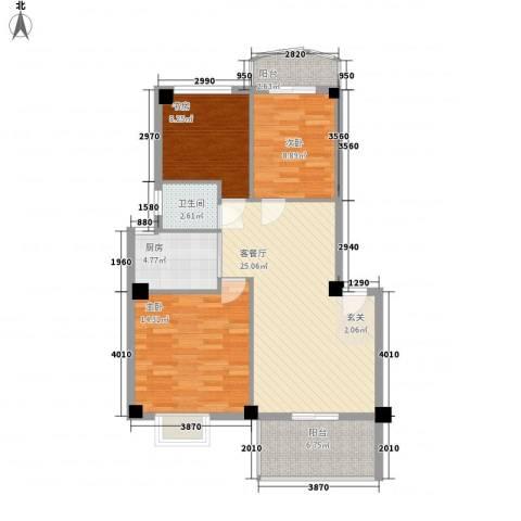 建昌99度城3室1厅1卫1厨103.00㎡户型图