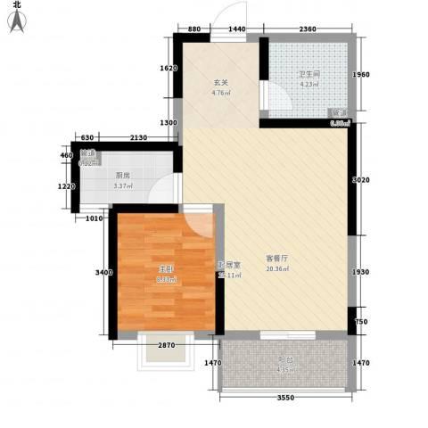 莱茵香榭1室0厅1卫1厨67.00㎡户型图