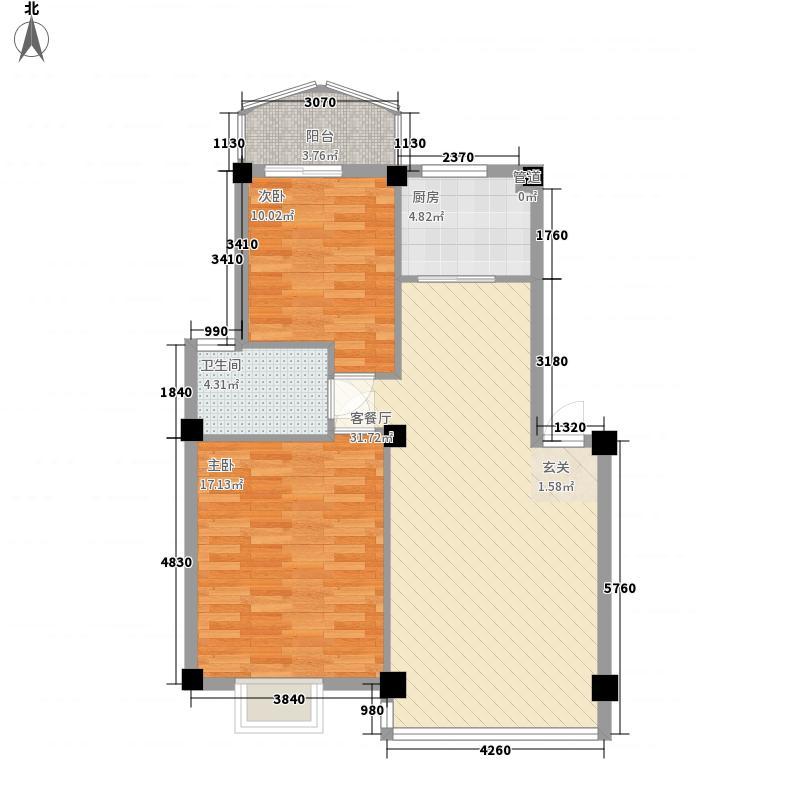 建昌99度城A户型2室2厅1卫1厨