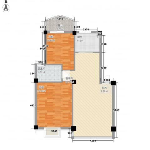 建昌99度城2室1厅1卫1厨100.00㎡户型图