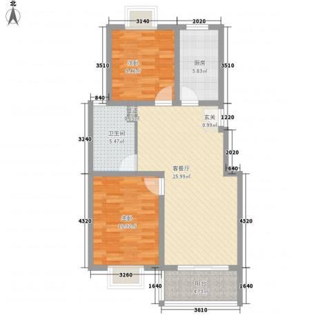 惠麓苑2室1厅1卫1厨92.00㎡户型图