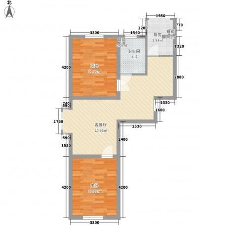 浑河国际城2室1厅1卫1厨81.00㎡户型图