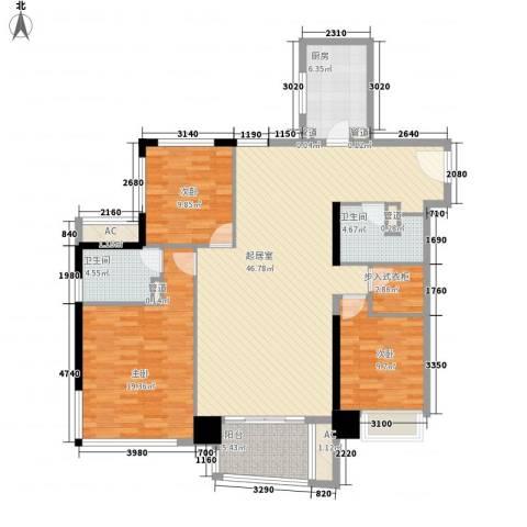 日月光中心伯爵居3室0厅2卫1厨161.00㎡户型图