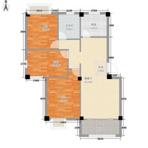 佳兆业壹号公馆3室1厅1卫1厨115.00㎡户型图