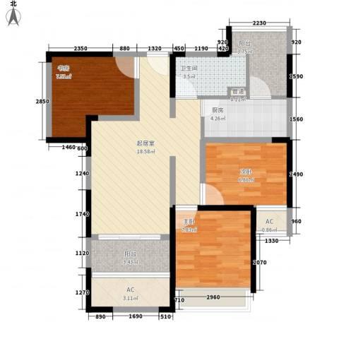 绿地卡米小城3室0厅1卫1厨90.00㎡户型图