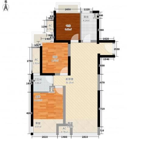 绿地世纪城3室0厅1卫1厨83.00㎡户型图