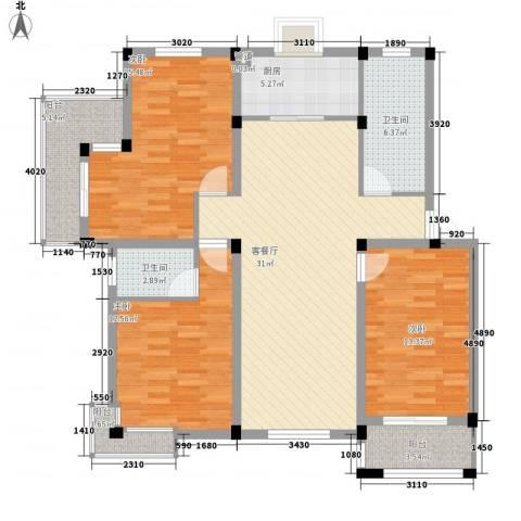 鑫达・风和日丽3室1厅2卫1厨139.00㎡户型图