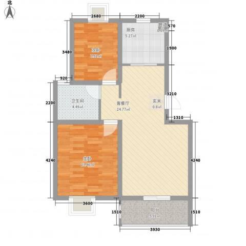 金陵王榭2室1厅1卫1厨78.00㎡户型图