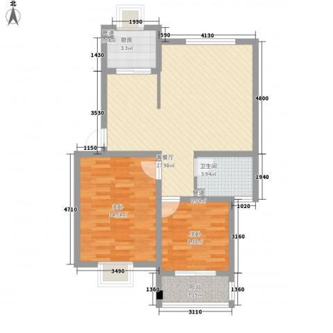 鑫达・风和日丽2室1厅1卫1厨89.00㎡户型图