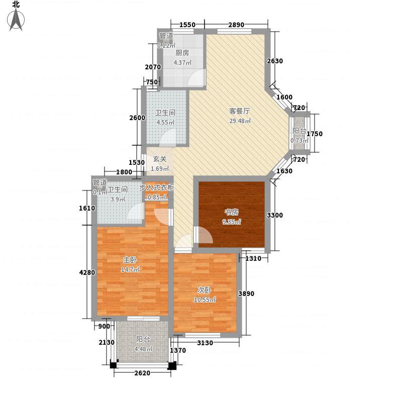 东城风景户型图F'户型 3室2厅2卫1厨