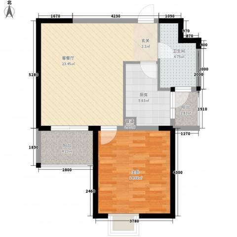 新都会花园二期1室1厅1卫1厨65.00㎡户型图