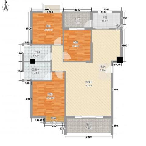 龙泉华庭3室1厅2卫1厨144.00㎡户型图