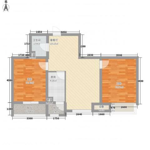 南奥国际2室1厅1卫1厨82.00㎡户型图